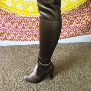Suede Taupe Tie-Back Thigh-High Boots